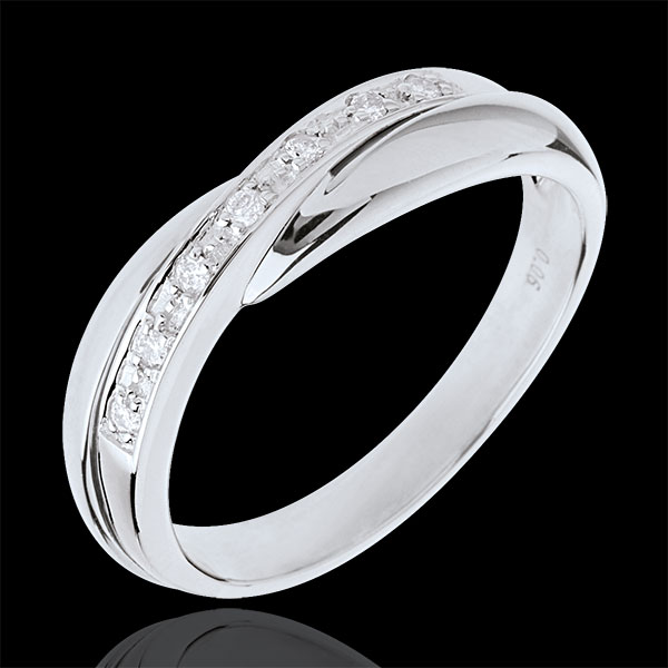 Fede nuziale oro bianco incastonatura Binario - 7 diamanti