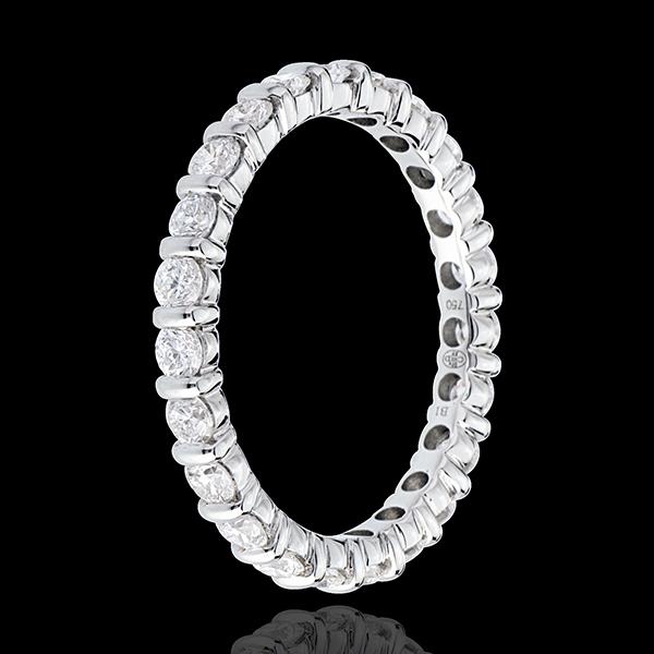 Fede nuziale - Oro bianco pavé - 18 carati - 22 Diamanti - incastonatura a barretta - 1.25 carati