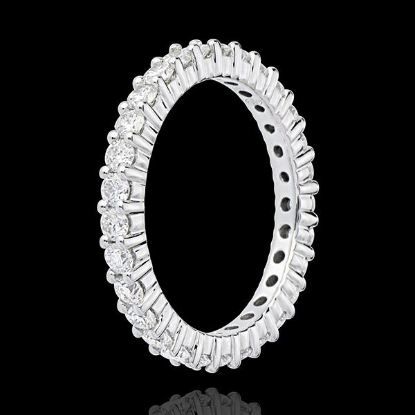 Fede nuziale - Oro bianco pavé - 18 carati - 30 Diamanti - incastonatura a griffe - 1.2 carati