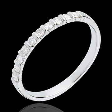 Fede nuziale - Oro bianco semi pavé - 18 carati - 10 Diamanti - incastonatura a barretta - 0.2 carati