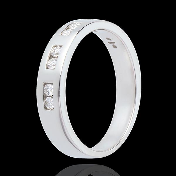 Fede nuziale Oro bianco semi pavé - 18 carati - 10 Diamanti - incastonatura a binario - 0.22 carati