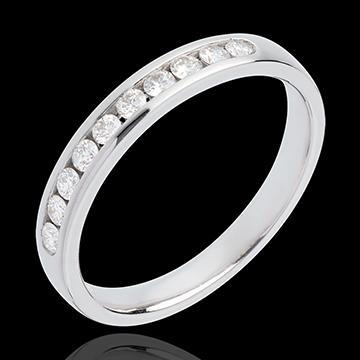 Fede nuziale - Oro bianco semi pavé - 18 carati - 10 Diamanti - incastonatura a binario - 0.25 carati
