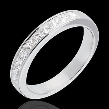 Fede nuziale - Oro bianco semi pavé - 18 carati - 10 Diamanti - incastonatura a binario - 0.8 carati