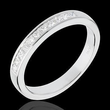 Fede nuziale - Oro bianco semi pavé - 18 carati -11 Diamanti - incastonatura a binario - 0.31 carati