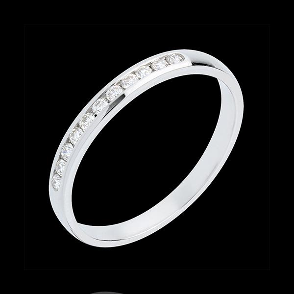 Fede nuziale - Oro bianco semi pavé - 18 carati - 11 Diamanti - incastonatura a binario