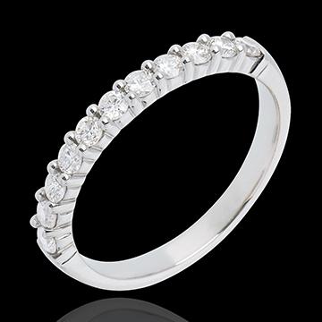 Fede nuziale - Oro bianco semi pavé - 18 carati - 11 Diamanti - incastonatura a griffe - 0.4 carati