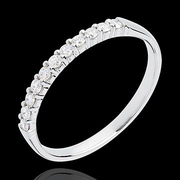 Fede nuziale - Oro bianco semi pavé - 18 carati - 11 Diamanti - incastonatura a griffe