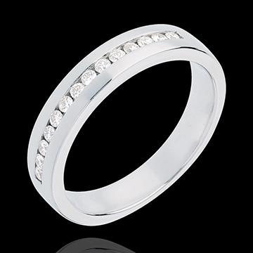 Fede nuziale - Oro bianco semi pavé - 18 carati - 14 Diamanti - incastonatura a binario - 0.21 carati