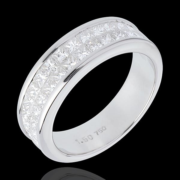 Fede nuziale - Oro bianco semi pavé - 18 carati - 2 file Diamanti - incastonatura a binario - 1.5 carati