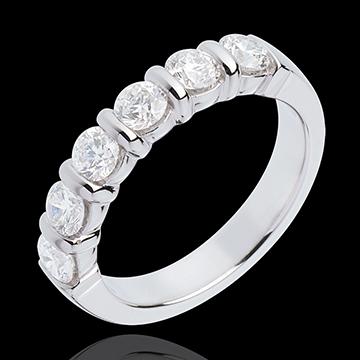 Fede nuziale - Oro bianco semi pavé - 18 carati - 6 Diamanti - incastonatura a barretta - 1 carato