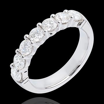 Fede nuziale - Oro bianco semi pavé - 18 carati - 7 Diamanti - incastonatura a griffe - 1.2 carati