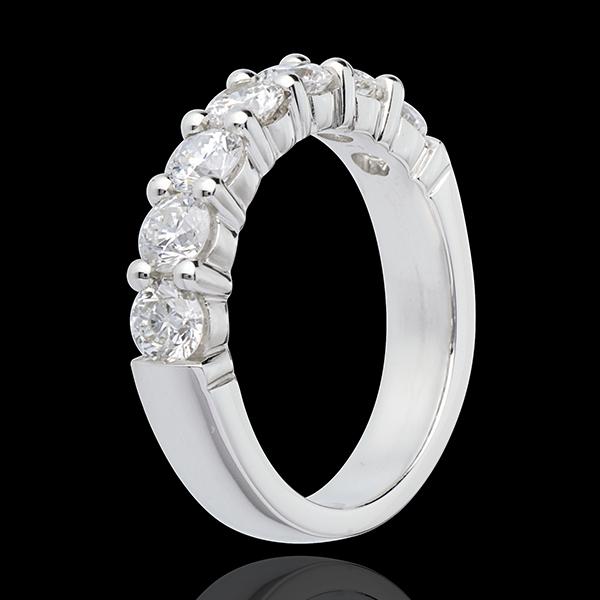 Fede nuziale - Oro bianco semi pavé - 18 carati - 7 Diamanti - incastonatura a griffe - 1.5 carati