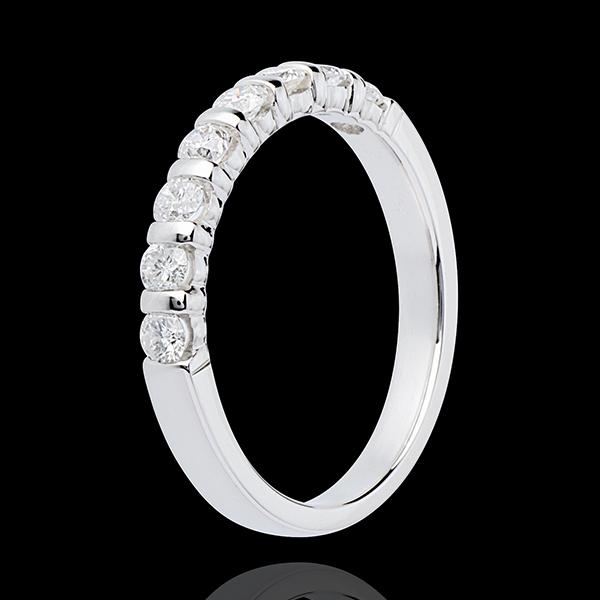 Fede nuziale - Oro bianco semi pavé - 18 carati - 8 Diamanti - incastonatura a barretta - 0.5 carati