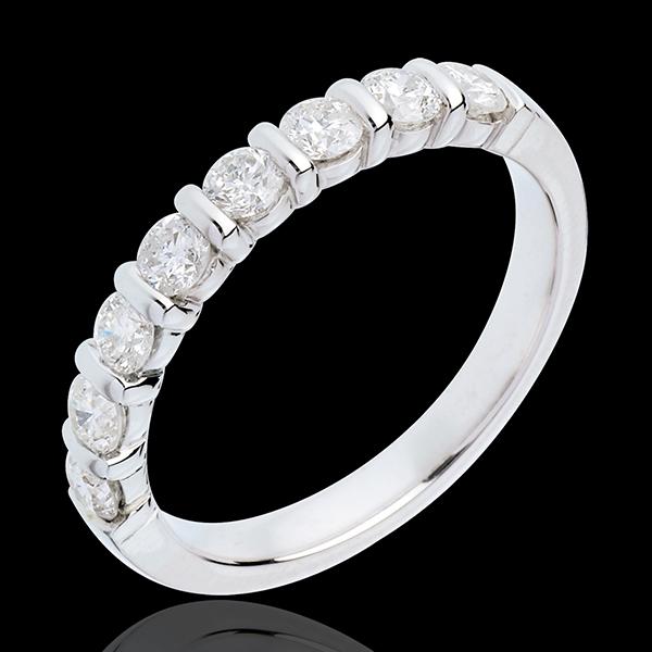 Fede nuziale - Oro bianco semi pavé - 18 carati - 8 Diamanti - incastonatura a barretta - 0.65 carati