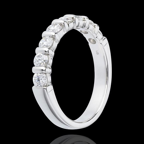 Fede nuziale - Oro bianco semi pavé - 18 carati - 8 Diamanti - incastonatura a barretta - 0.75 carati