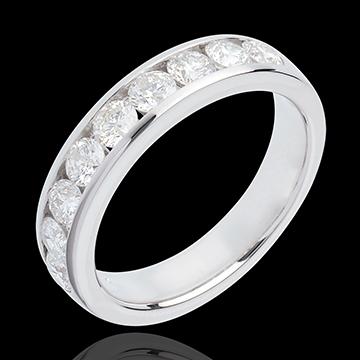 Fede nuziale - Oro bianco semi pavé - 18 carati - 9 diamanti - incastonatura a binario - 1 carato