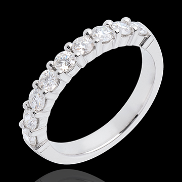 Fede nuziale - Oro bianco semi pavé - 18 carati - 9 Diamanti - incastonatura a griffe - 0.75 carati