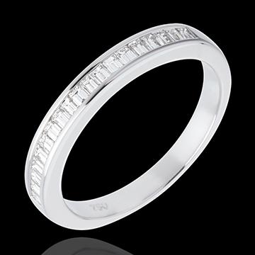 Fede nuziale Oro bianco semi pavé - 18 carati - Diamante - incastonatura a binario - 0.3 carati