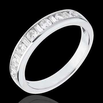 Fede nuziale - Oro bianco semi pavé - Oro bianco - 18 carati - 13 diamanti - incastonatura a binario - 0.57 carati