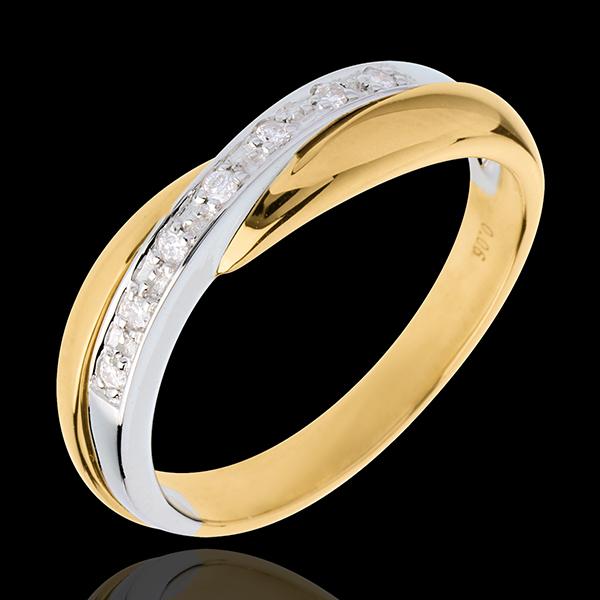 Fede nuziale - Oro giallo e Oro bianco - 18 carati - 7 Diamanti - incastonatura a binario