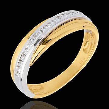 Fede nuziale - Oro giallo e Oro bianco semi pavé - 18 carati - 16 Diamanti - 0.16 carati