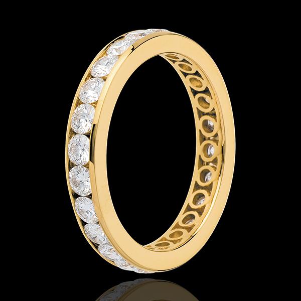 Fede nuziale - Oro giallo pavé - 18 carati - 23 Diamanti - incastonatura a binario - 2 carati