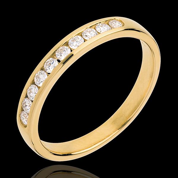 Fede nuziale - Oro giallo semi pavé - 18 carati - 10 Diamanti - incastonatura a binario - 0.25 carati