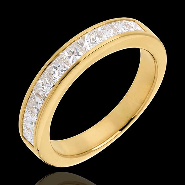 Fede nuziale - Oro giallo semi pavé - 18 carati - 10 Diamanti - incastonatura a binario - 1 carato