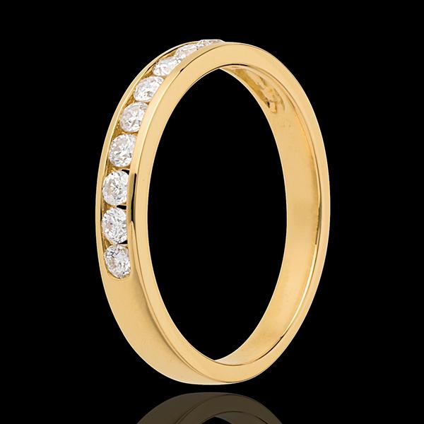 Fede nuziale - Oro giallo semi pavé - 18 carati - 10 Diamanti - incastonatura a binario
