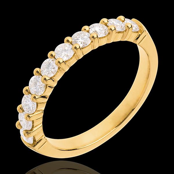 Fede nuziale - Oro giallo semi pavé - 18 carati -10 Diamanti - incastonatura a griffe - 0.65 carati