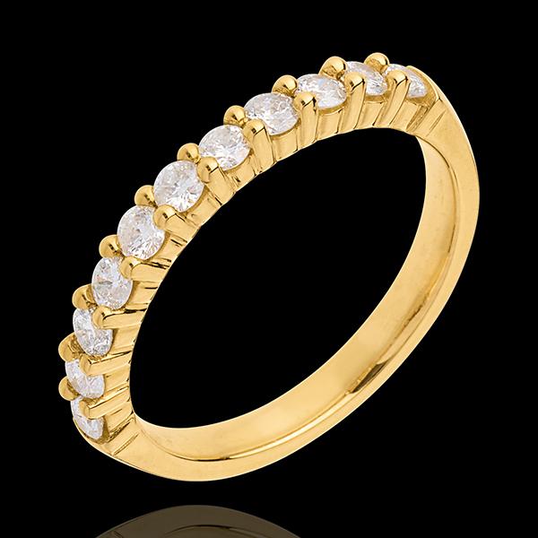 Fede nuziale - Oro giallo semi pavé - 18 carati - 11 Diamanti - incastonatura a griffe - 0.5 carati