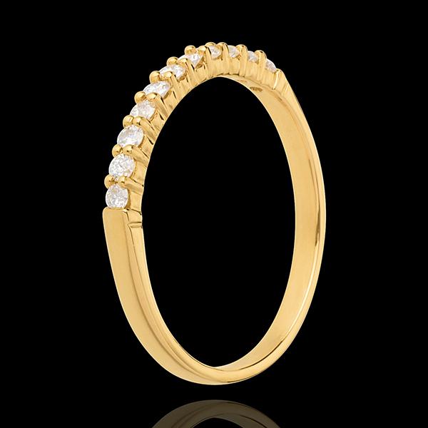 Fede nuziale - Oro giallo semi pavé - 18 carati - 11 Diamanti - incastonatura a griffe