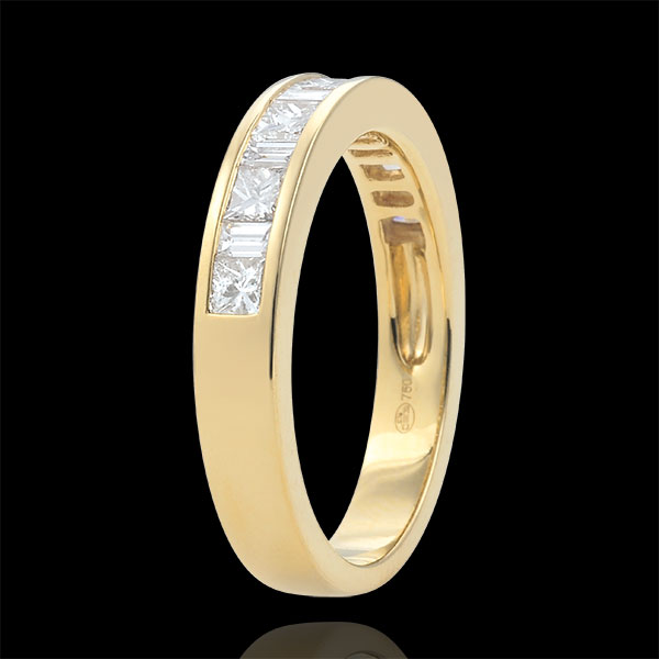 Fede nuziale - Oro giallo semi pavé - 18 carati - 13 Diamanti - incastonatura a binario - 0.7 carati