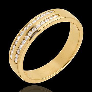 Fede nuziale - Oro giallo semi pavé - 18 carati - 2 file Diamanti - incastonatura a binario - 0.21 carati