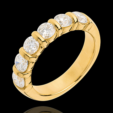 Fede nuziale - Oro giallo semi pavé - 18 carati - 6 Diamanti - incastonatura a barretta - 1.5 carati