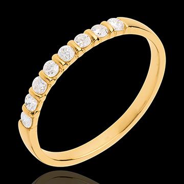 Fede nuziale - Oro giallo semi pavé - 18 carati - 8 Diamanti - incastonatura a barretta - 0.25 carati