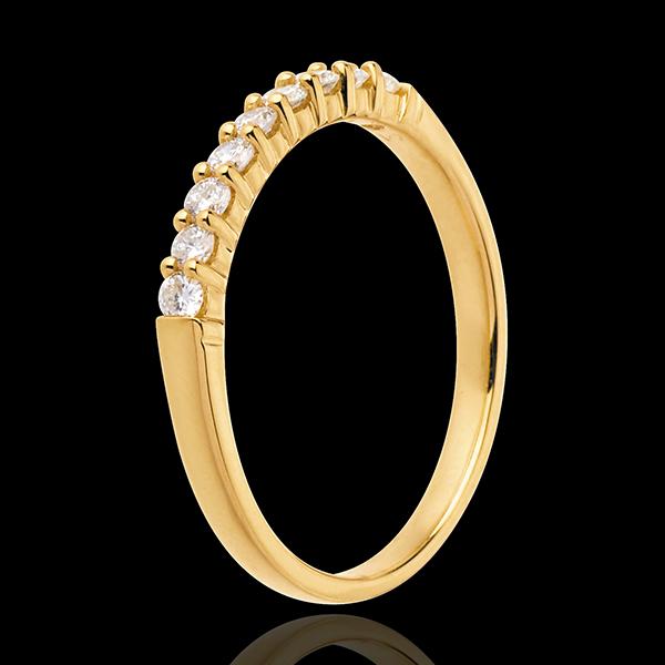 Fede nuziale - Oro giallo semi pavé - 18 carati - 9 Diamanti - incastonatura a griffe - 0.25 carati