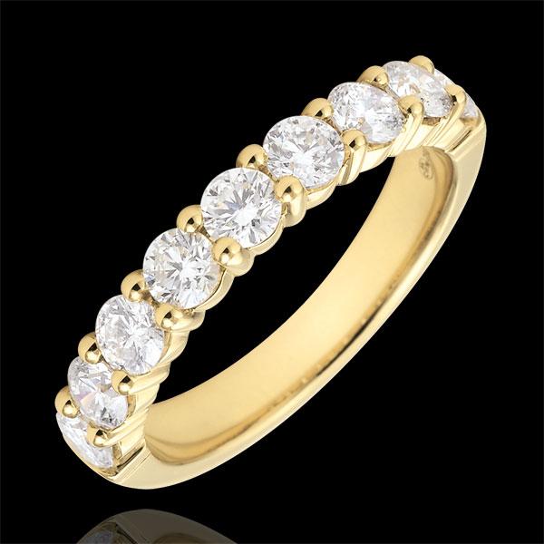 Fede nuziale - Oro giallo semi pavé - 18 carati - 9 Diamanti - incastonatura a griffe - 1 carato