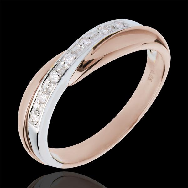 Fede nuziale - Oro rosa e Oro bianco - 18 carati - 7 Diamanti - incastonatura a binario