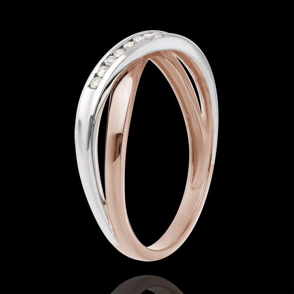 Fede nuziale - Oro rosa e Oro bianco - 18 carati - 9 Diamanti