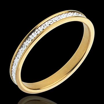 Fede nuziale - Pandouria - Oro bianco e Oro giallo - 18 carati