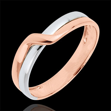 Fede nuziale Passione Eden - Oro bianco e Oro rosa - 9 carati