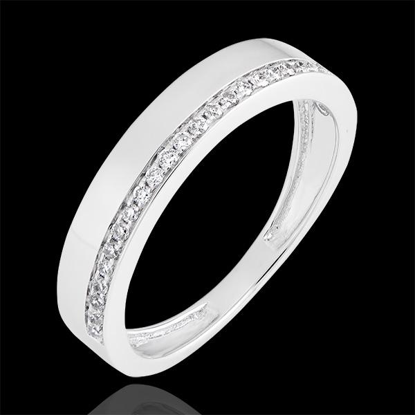 Fede nuziale Passione - variazione - oro bianco 9 carati e diamanti