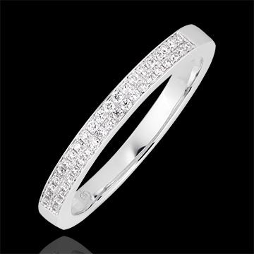 Fede nuziale Riviera doppia - oro bianco 18 carati e diamanti