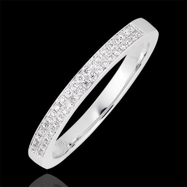 Fede nuziale Riviera doppia - oro bianco 9 carati e diamanti