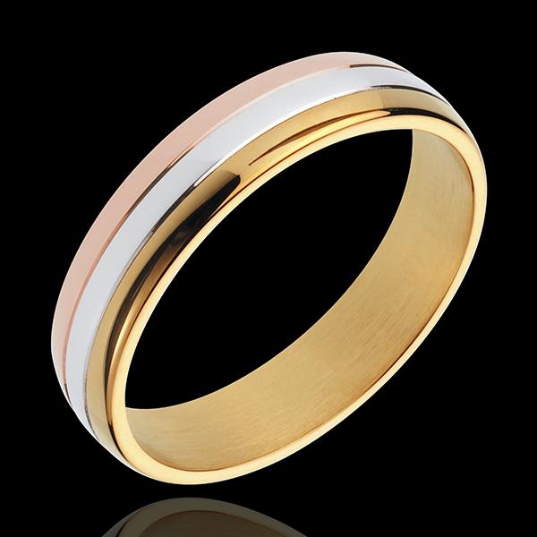 Fede nuziale - Saggia Gravitazione - Oro rosa, Oro bianco e Oro giallo - 18 carati