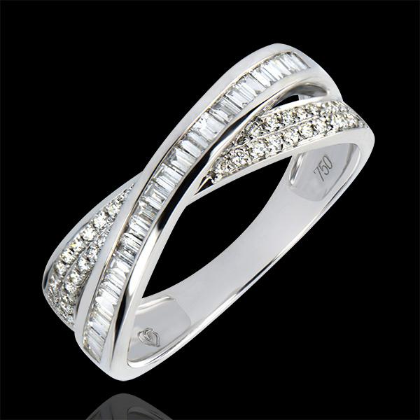 Fede nuziale Saturno - Duo diamanti - oro bianco 9 carati e diamanti
