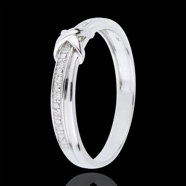 Fede nuziale - Segno d'Amore - Oro bianco - 9 carati - 14 Diamanti