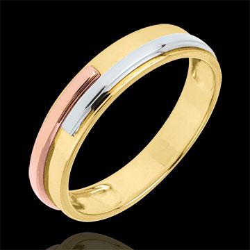 Fede nuziale Titano - Oro bianco, Oro rosa e Oro giallo - 18 carati