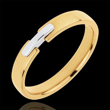 Fede nuziale - Unione d'Oro -Oro bianco e Oro giallo - 18 carati